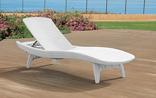 Keter Set of 2 Pacific Sun Lounge Outdoor Chaise Pool Chairs with Resin Rattan Look and Adjustable Back, Oasis White