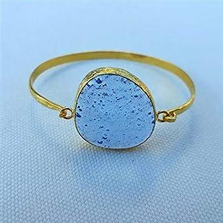 Progettato appositamente, Ottone placcato oro, Bracciale in vetro blu pastello