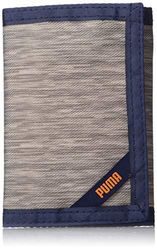 PUMA Little Kids' Rise Trifold Wallet, Grey/Orange, One Size