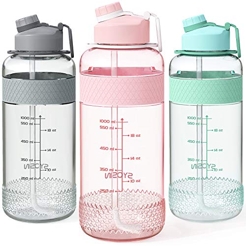 SYOSIN Sport Trinkflaschen mit Strohhalm, 34 OZ / 1L große Wasserflaschen mit Marker, auslaufsicher und schweißfrei Gym Bottle, Tritan BPA Kostenlose Krüge mit Griff für Wandern Fitness Outdoor-Sport