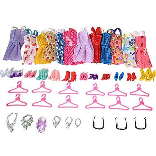 45 piezas de ropa vestido de fiesta trajes de muñeca accesorios para vestir, zapatos, collar, colgador, gafas para niñas, niños, fiestas, regalos de cumpleaños