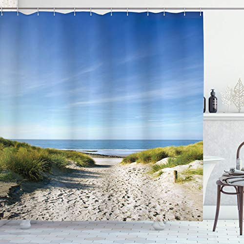 """Ambesonne Ocean Shower Curtain, Path to The Ocean Sky Sandy Seaside Shore Getaway Relaxing Summertime, Cloth Fabric Bathroom Decor Set with Hooks, 70"""" Long, Brown Sky"""