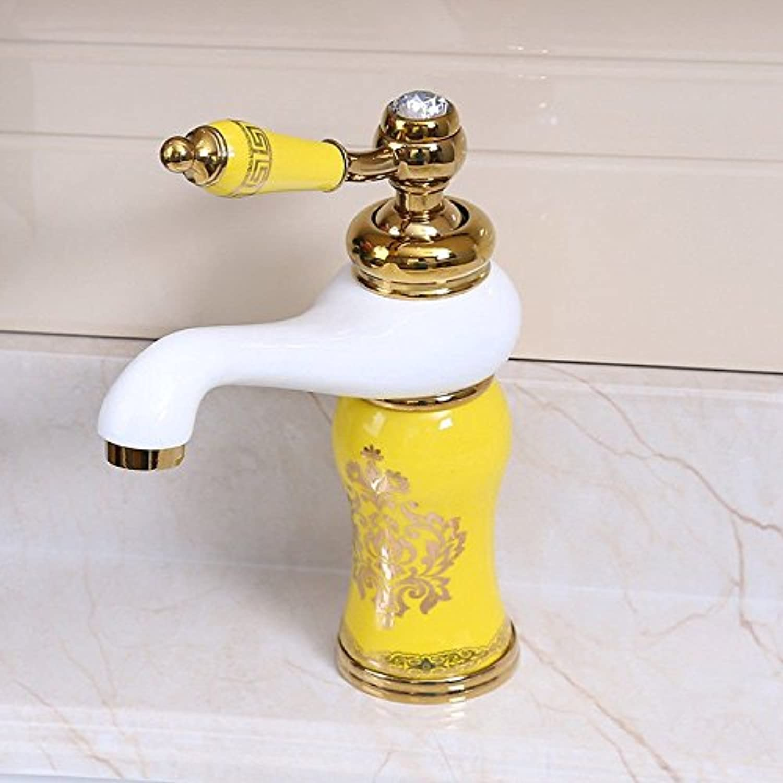 Gyps Faucet Basin Mixer Tap Waterfall Faucet Antique Bathroom Mixer Bar Mixer Shower Set Tap antique bathroom faucet Antique simple full copper hot and cold basin sink faucet sink mixer Yellow,Modern
