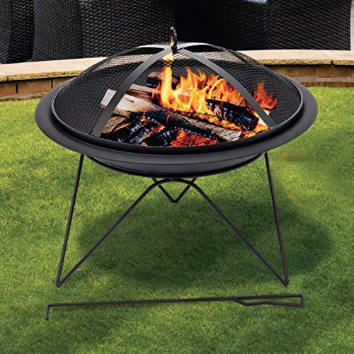 SA Products Portable Fire Pit - Grill Steaks & Sausages in Beaches, Patio, Garden & Decking - Black Firepit Brazier for Outdoor Camping, BBQ, Picnics - Includes Safety Mesh Lid & Charcoal Poking Tool