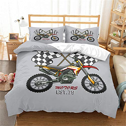 Double Duvet Cover Set Motocross Racer Grey City and Motorcycle 3D Print Quilt Cover Set with 2 Pillow Shames Lightweight Soft Microfiber Bedding Sets with Zipper Closure 3PCs-A_AU-Double180cm×210cm