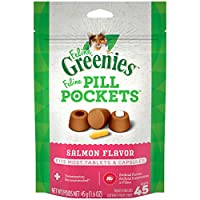 Contains one (1) 1. 6 oz. 45-count pack of FELINE GREENIES PILL POCKETS Natural Cat Treats Salmon Flavor that are perfect for medicine tablets or capsules; MADE WITH NATURAL INGREDIENTS plus trace nutrients Easy to use: Just put the pill or capsule o...