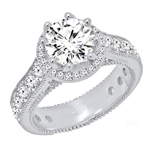 Dazzlingrock Collection Sterling Silver Round White Cubic Zirconia CZ Ladies Bridal Engagement Ring, Size 7.5