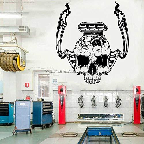 Blrpbc Adhesivos Pared Pegatinas de Pared Coche Vinilo Coche Motor Motor cráneo Garaje Taller de reparación de automóviles Tienda de Coches Art Deco calcomanía Papel Tapiz 86x98cm