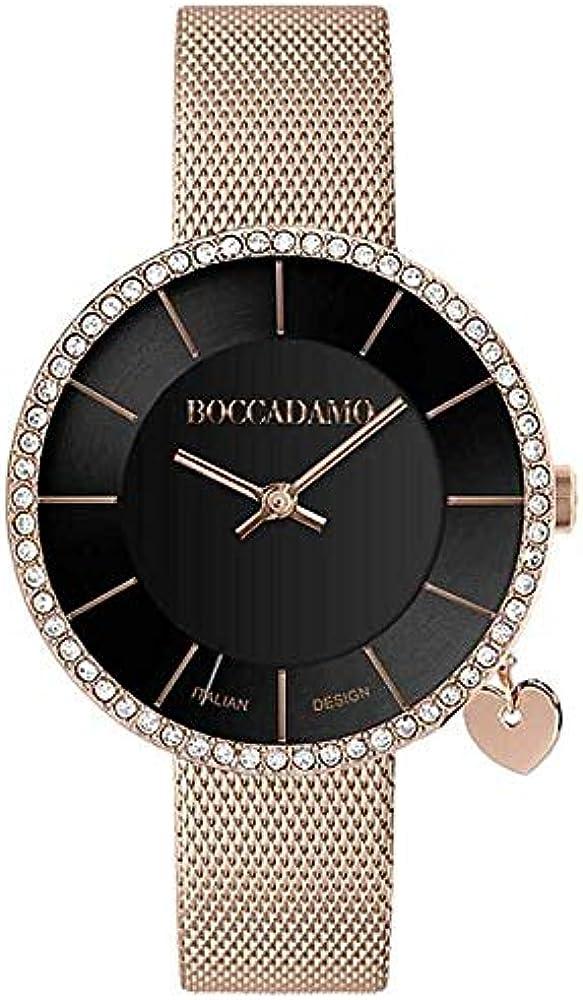 boccadamo, orologio per donna,cinturino rose gold in maglia mesh con placcatura in pvd ,charm mx011