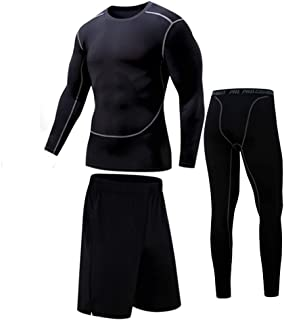 Bsadne 3 Men's Fitness Suit, Sportswear, Bottom Shirts + Loose Shorts + Tight Pants for Running