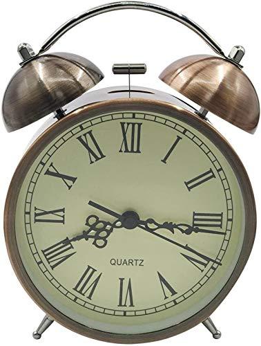 Precisa Retro Números romanos Alarma de cuarzo analógico, reloj de alarma silencioso Classic Twin Bell Relojes de alarma en silencio sin tictac Reloj de viaje for niños y adultos Fuerte y Resistente a