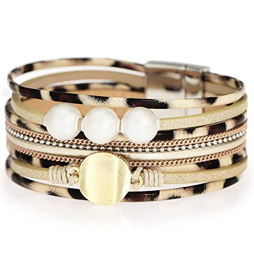 Suyi Leopard Bracelet Multi-Layer Leather Wrap Cuff Bracelet Boho Birthday Gift Bracelet for Women Leopard2