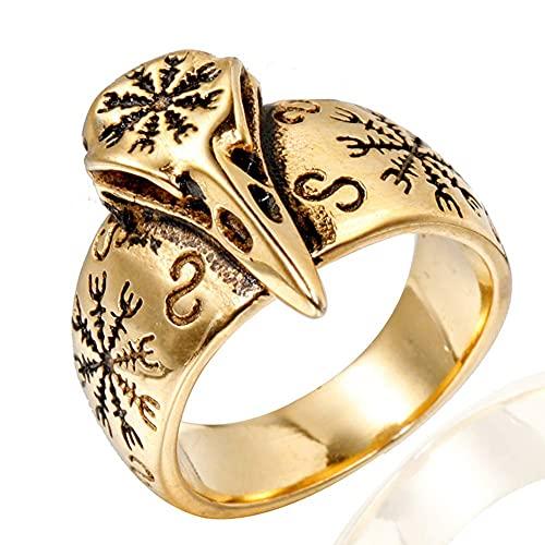 WEIZQ Raven Skull Viking Ring para hombres/mujeres, amuleto rúnico de brújula nórdica hecho de acero inoxidable 316L, joyería de fiesta de graduación de aves.dorado