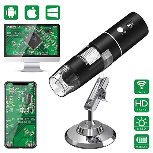 USB Mikroskope,WiFi Digital Mikroskop,HEYSTOP 1080P HD 2MP Mini Kamera,50 bis 1000x Vergrößerung Endoskop,8 LED Digital Mikroskop mit Metallständer Kompatibel mit iPhone IOS Android iPad Windows,MAC