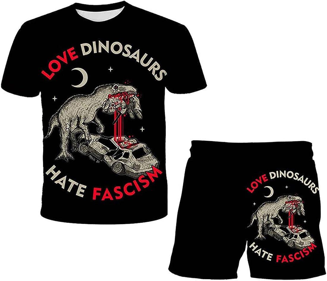 Boys Girls 3D Dinosaur Cool Short Sleeve Suit Printed Graphic T-Shirt Kids Teenagers Short Sleeve Tee Shirts