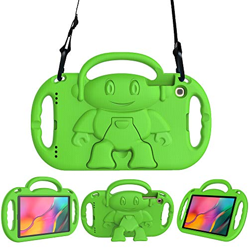 Surom Kids Case for Samsung Galaxy Tab A 10.1' 2019, Light Weight Shock Proof Friendly Handle Kids Stand with Shoulder Strap for Tab A 10.1 Inch 2019 (Model SM-T510/T515), Green