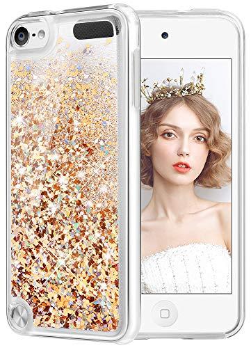 WLOOO Cover per iPod Touch 5/6/7, Cover iPod Touch 6, Glitter Bling Liquido Custodia Sparkly Luccichio Pendenza TPU Silicone Protettivo Morbido Brillantini Quicksand Case (Oro Argento)
