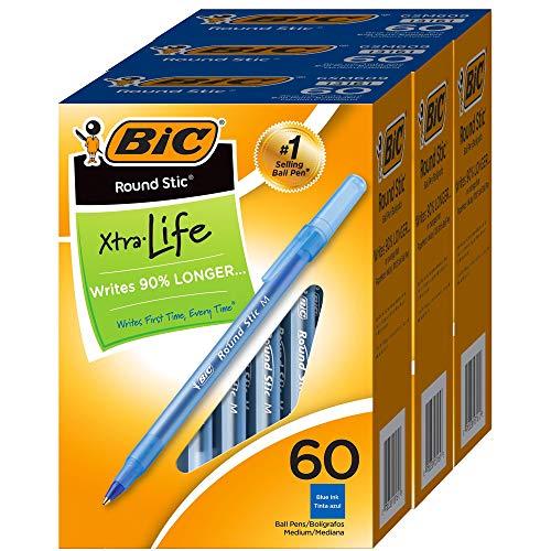 BIC Bolígrafos redondos de punta media, color azul, 1,0 mm, caja de 60 x 3 unidades, 180 bolígrafos