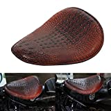Brown Alligator Leather Motorcycle Solo Driver Seat for Harely Honda Sportster Bobber Chopper Custom