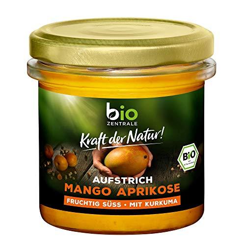 biozentrale Aufstrich Mango Aprikose | 135 g | veganer Brotaufstrich mit Kichererbsen und Kurkuma | fürs Brot, in Joghurt oder Müsli | Alternative zu Marmelade