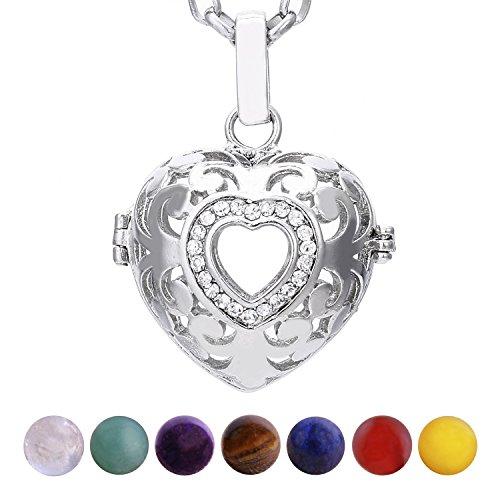 Morella Collana Donna Acciaio Inossidabile 70 cm con Ciondolo Cuore Amore e 7 Sfere con Pietre preziose Gemme minerali in Un Sacchetto di Velluto
