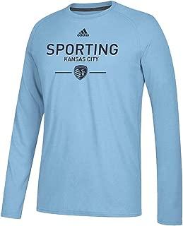 adidas Sporting Kansas City MLS Men's Smoke Blue Lined Up Climalite Ultimate Tee Long Sleeve T-Shirt