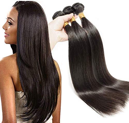 Elailite Extension Capelli Veri Tessitura Fascia Unica Matassa 60cm 100g - 100% Remy Human Hair Vergini Brasiliani Lisci #1B Nero Naturale