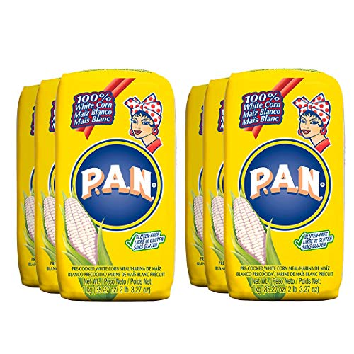 P.A.N. White Corn Meal – Pre-cooked Gluten Free and Kosher Flour for Arepas, 1 Kilogram (35 Ounces / 2 Pounds 3.3 Ounces) (Pack of 6)