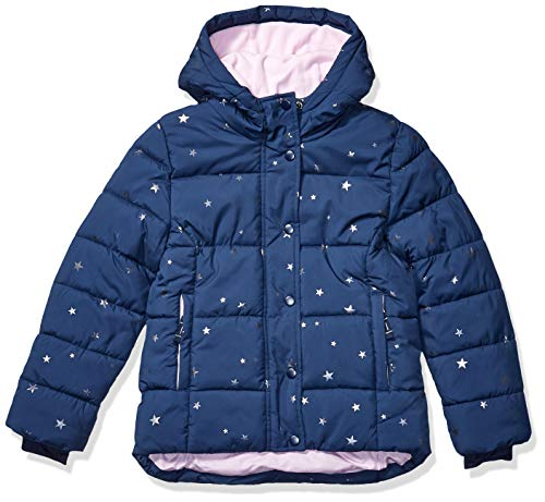 Amazon Essentials Heavy-Weight Hooded Puffer Coat Dress-Coats, Navy with Foil Stars, XS