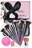M.Y.L. Set Pennelli Make Up Professionali, Fascia Capelli Donna, Beauty Blender, Pulitore, Pochette