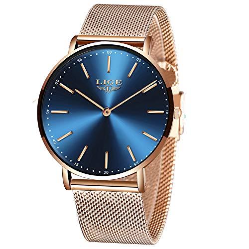 LIGE Unisex Uhren Damen Herren Wasserdicht Mode Minimalistische Analog Quarz Herrenuhren Männer Rotgold Edelstahl Mesh Armbanduhren