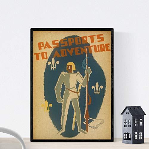 Nacnic Poster Vintage. Cartel Vintage Pasaporte a la Aventura. Tamaño A4 con Marco
