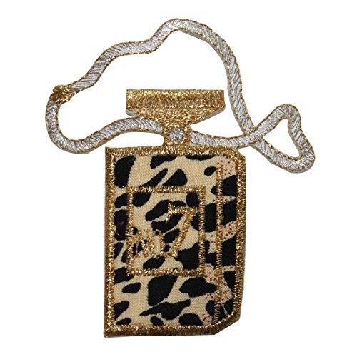 ID 8380 Leopard Print Perfume Bottle Patch Scent Embroidered Iron On Applique