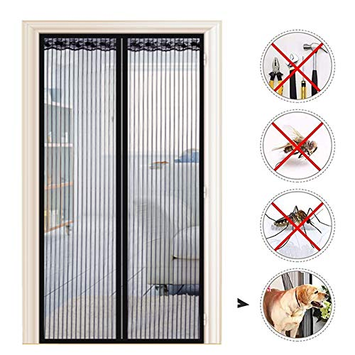 Magnetische Fly Screen Door Summer Encryption Anti-Mosquito Deurgordijn Mute zelfaanzuigende Gratis Punch Partition Screen voor Balcony Bedroom Living Room Patio Deur,Black,80 * 210 cm