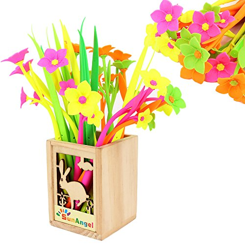 SunAngel Cute Cartoon Silicone Flower Pens + Green Grass-blade Ballpoint Silicon Grass Pen, 0.38mm Black Ink, Pack of 24, Random Color