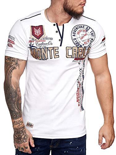 OneRedox Herren T Shirt Hoodie Longsleeve Kurzarm Shirt Sweatshirt Monte Carlo 3459 (M, Weiss)