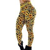 Forthery Women's Summer Sunflowers Stretchy Capri Leggings Hip Breathing Skinny Pants for Yoga Running Pilates Gym(Yellow,L)