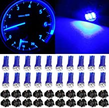 cciyu 20 Pack Blue T5 Wedge 3-3014 SMD LED 74 37 286 18 Dashboard Gauge Light Bulbs 12V w/Twist Socket