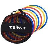 meiwar Koordinationsringe ohne Stecksystem - Koordinationsreifen im 12er Set in weiß, gelb, rot, blau I Agility Ringe für das Training im Sport