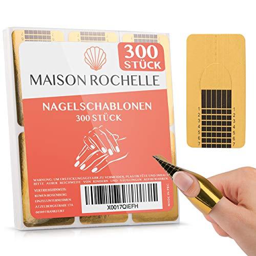 MAISON ROCHELLE® Nagelschablonen selbstklebend [300 Stück] (inkl. Anleitung) I Nagel Schablone für Gelnägel I Nagelform für Nailart | Gel Nail Stencil
