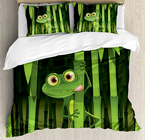 Ambesonne Animal Duvet Cover Set, Funny Illustration of Friendly Fun Frog on Stem of The Bamboo Jungle Trees Nature, Decorative 3 Piece Bedding Set with 2 Pillow Shams, Queen Size, Green Shades