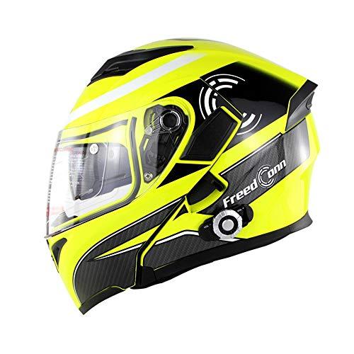 Cheap CARWORD Moto Helmet – Full-Duplex Voice Intercom Bm2-E Double Lens Riding Built-in Bluetooth Intercom Helmet,Yellow,XL