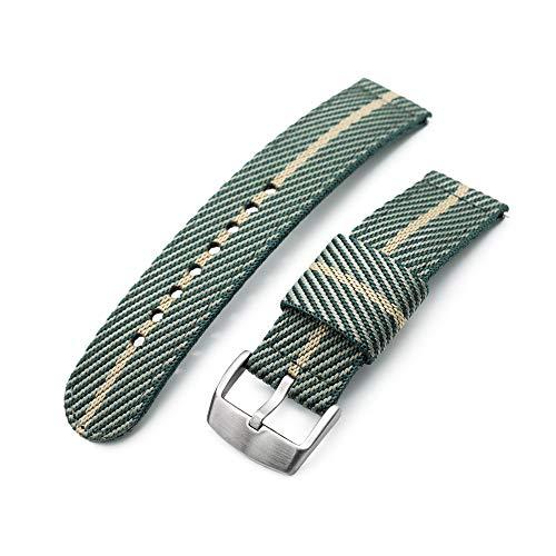 Correa de reloj de nailon de 22 mm, color verde y caqui, hebilla cepillada