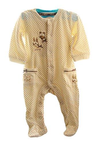 Baby Nicki Strampler 62 68 74 80 NEU Schlafanzug NEU Creme Overall Samt Pyjama (62)
