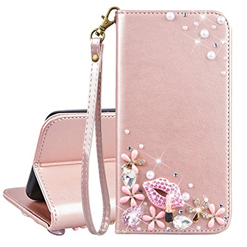 Xifanzi Brieftasche PU Ledertasche Hülle für Wiko Sunny 2 Plus Flip Hülle Strass Bling Bling Entwurf Blumen Pinke Lippen Muster Bookstyle Lederhülle Schützend Handytaschen für Wiko Sunny 2 Plus