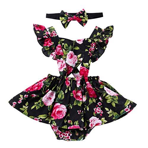 Minizone Meisjes Bodyuit met Hoofdband 2 stks Baby Mouwloos Rok Bloemen Jumpsuit Katoen Jurk Outfits
