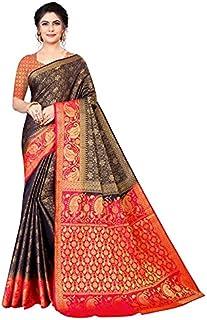 Neerav Exports Banarasi Kanjivaram Silk Traditional Jacquard Saree (Blue)