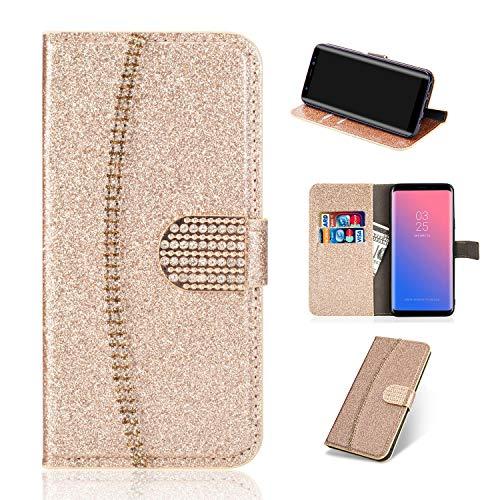 Artfeel Leder Brieftasche Hülle für Samsung Galaxy S9, Glitzer Kristall Strass Flip Handyhülle mit Kartenhalter,Bling Diamant Magnetverschluss Bookstyle Stand Hülle-Funkeln Gold