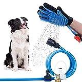 Outil de bain pour chien Gant de toilettage pour animaux domestiques, baignoire et douche avec gant de massage et de toilettage, 3 adaptateurs de robinet pour tuyau de jardin, pour chien et intérieur