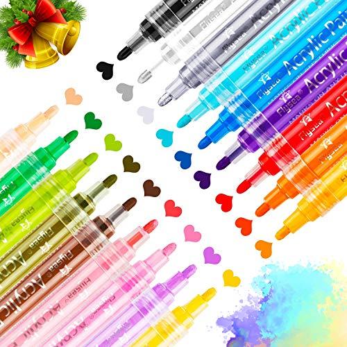 RATEL Acrylstifte Marker Stifte, 18 Farben Premium Wasserfest Paint Marker Set Art Filzstift Acrylic Painter für für DIY Stein, Leinwand, Papier, Glasmalerei (Aktualisierte Version)